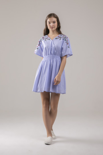 Gracie Floral Embro Dress - Blue