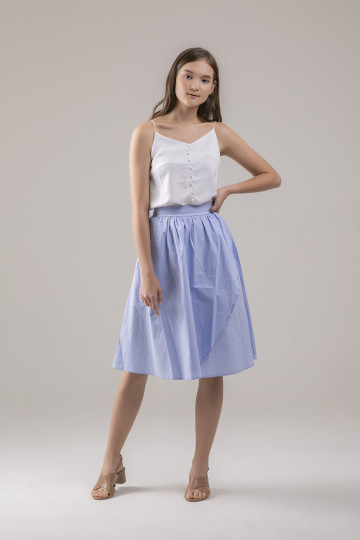Talia Overlap Skirt - Blue