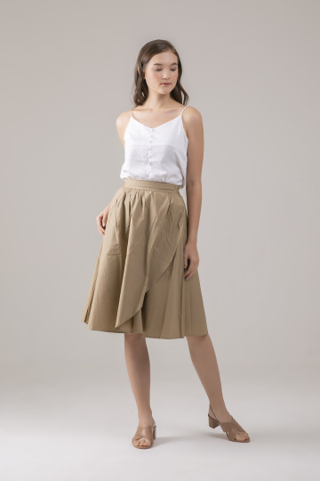 Talia Overlap Skirt - Khaki