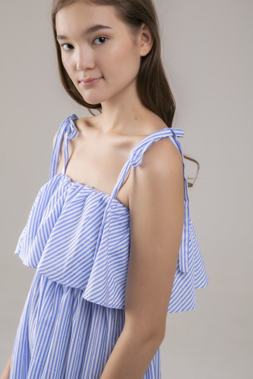 Miranda Stripe Ruffles Dress - Blue