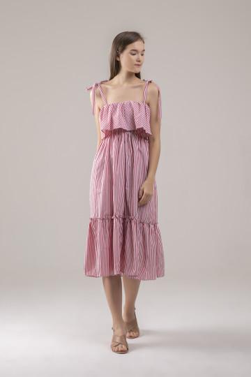 Miranda Stripe Ruffles Dress - Red
