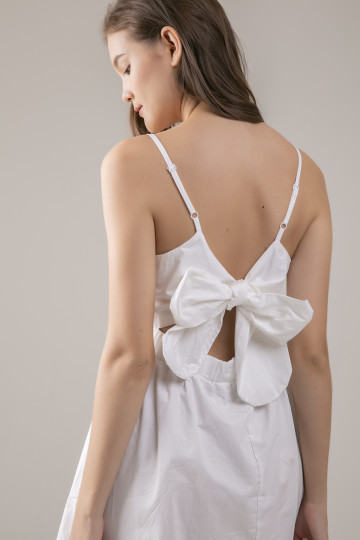 Serene Back Bow Dress - White