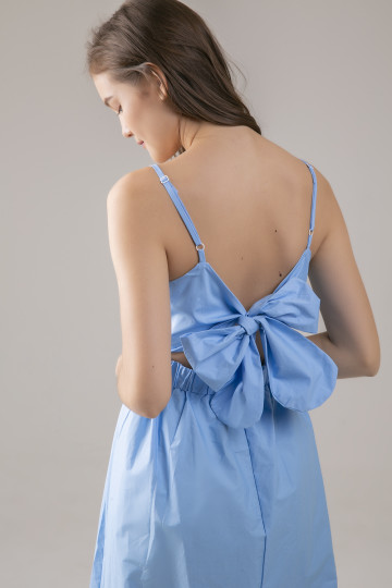 Serene Back Bow Dress - Blue