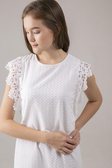 Lily Eyelet Dress - White