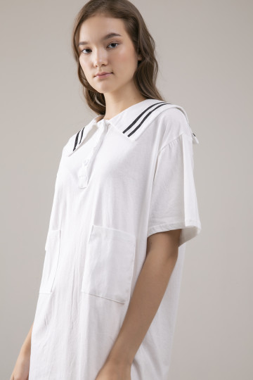 Olive Sailor Dress - White