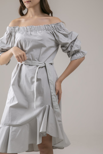 Bianca Offshoulder Dress - Sage
