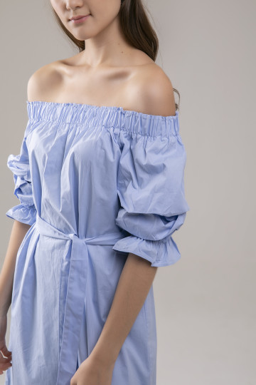 Bianca Offshoulder Dress - Blue