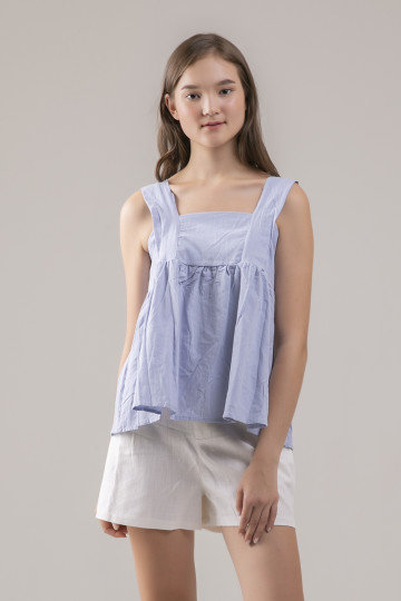 Colleen Babydoll Top - Blue