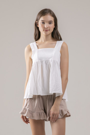 Colleen Babydoll Top - White