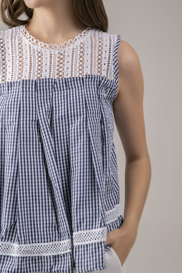 Emily Lace Gingham Top - Dark Blue