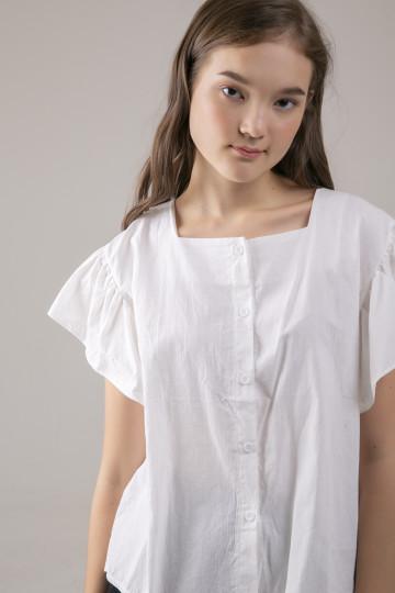 Gemma Squareneck Ruffle Top - White