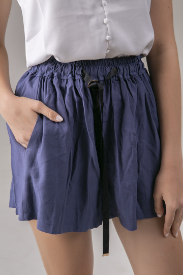 Rhea Black Ribbon Short - Blue