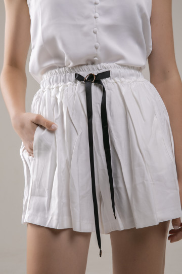 Rhea Black Ribbon Short - White