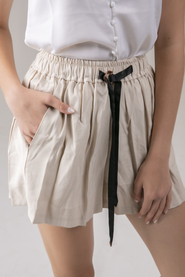 Rhea Black Ribbon Short - Cream