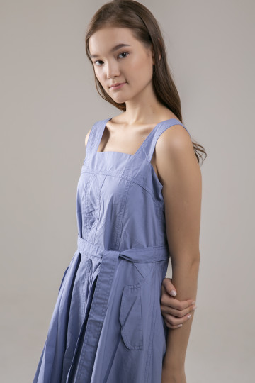 Bea Squareneck Dress - Blue