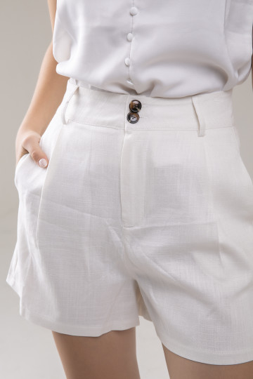 Sam Linen Short - White