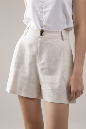 Sam Linen Short - Cream