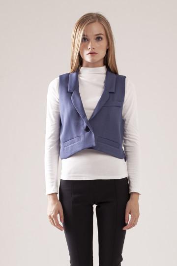 Morgan Crop Vest - Blue