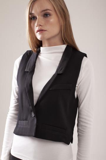 Morgan Crop Vest - Black