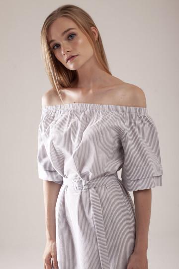 Esther Off Shoulder Dress - Grey