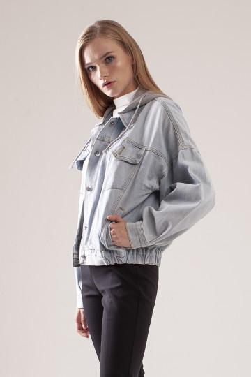 Vela Hooded Denim Jacket - Grey