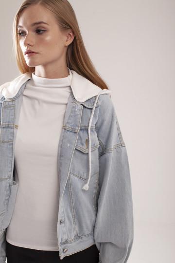 Vela Hooded Denim Jacket - White