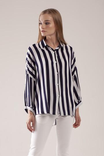 Camille Stripe Shirt - Navy
