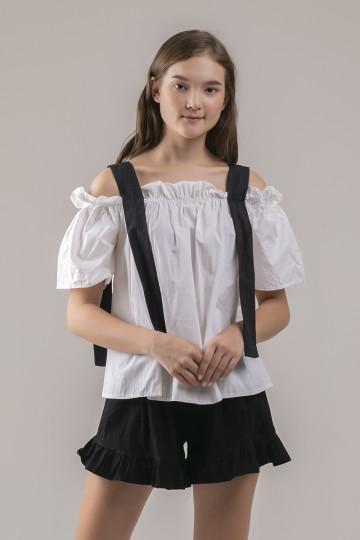 Dakota Black Strap Top - White