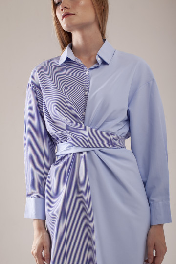 Gia Stripe Combo Dress - Blue