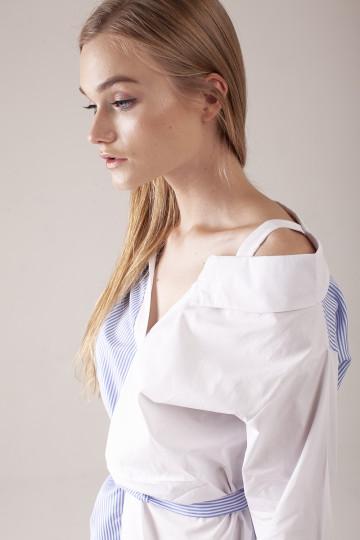 Maeve Stripe Asym Dress - White