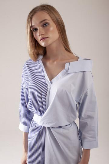 Maeve Stripe Asym Dress - Blue