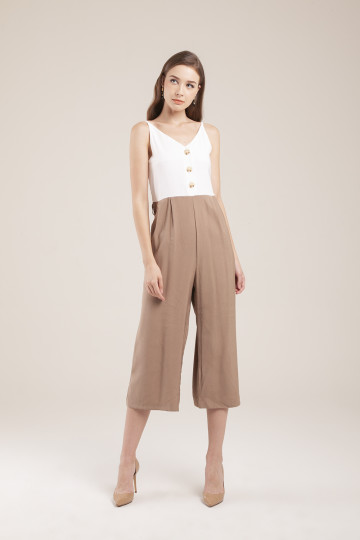 Leanne Two-tone Jumpsuit - Khaki