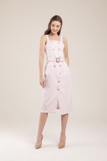 Megan Stripe Double Breasted Dress - Pink