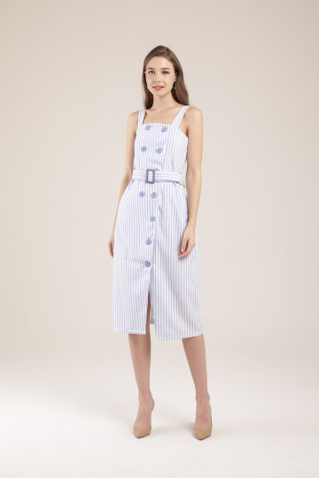 Megan Stripe Double Breasted Dress - Blue