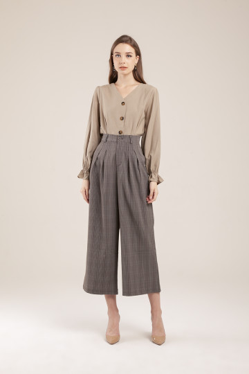 Vixen Plaid Culotte Dark Grey