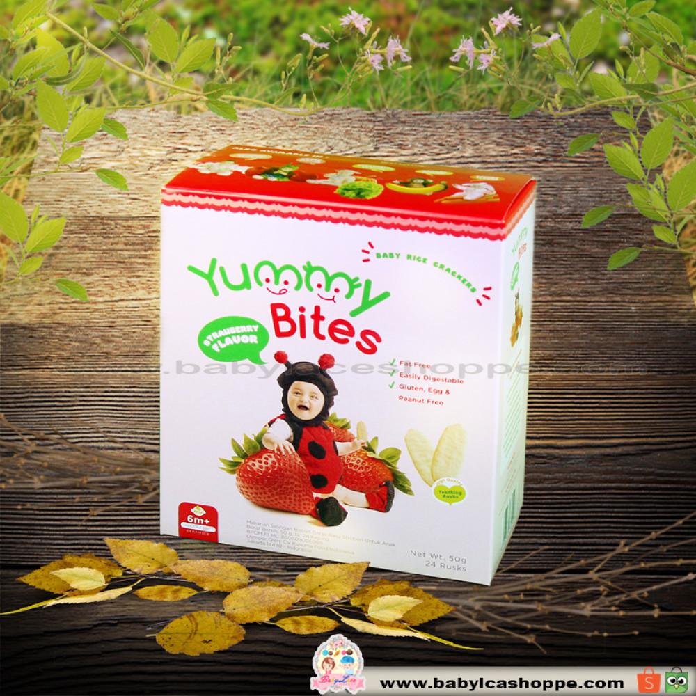 Yummy Bites Baby Rice Crackers Strawberry Daftar Harga Terbaru Dan 123 50gr Biskuit Bayi Snack Makanan Source