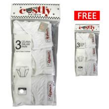 Costly Buy 1 Get 1 Free Celana Dalam Putih [Isi 3pcs Gratis 3pcs]