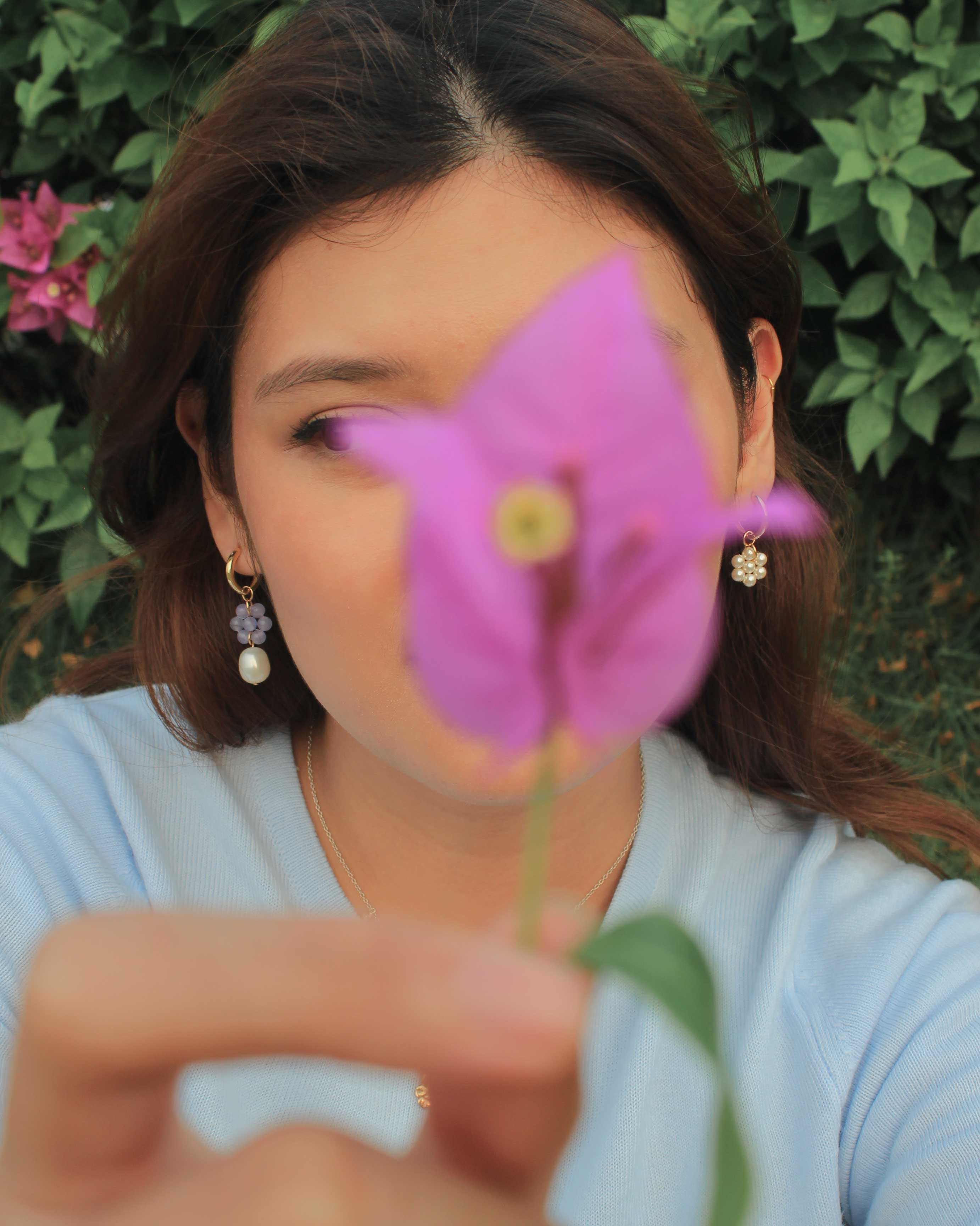 pansy and clover earrings