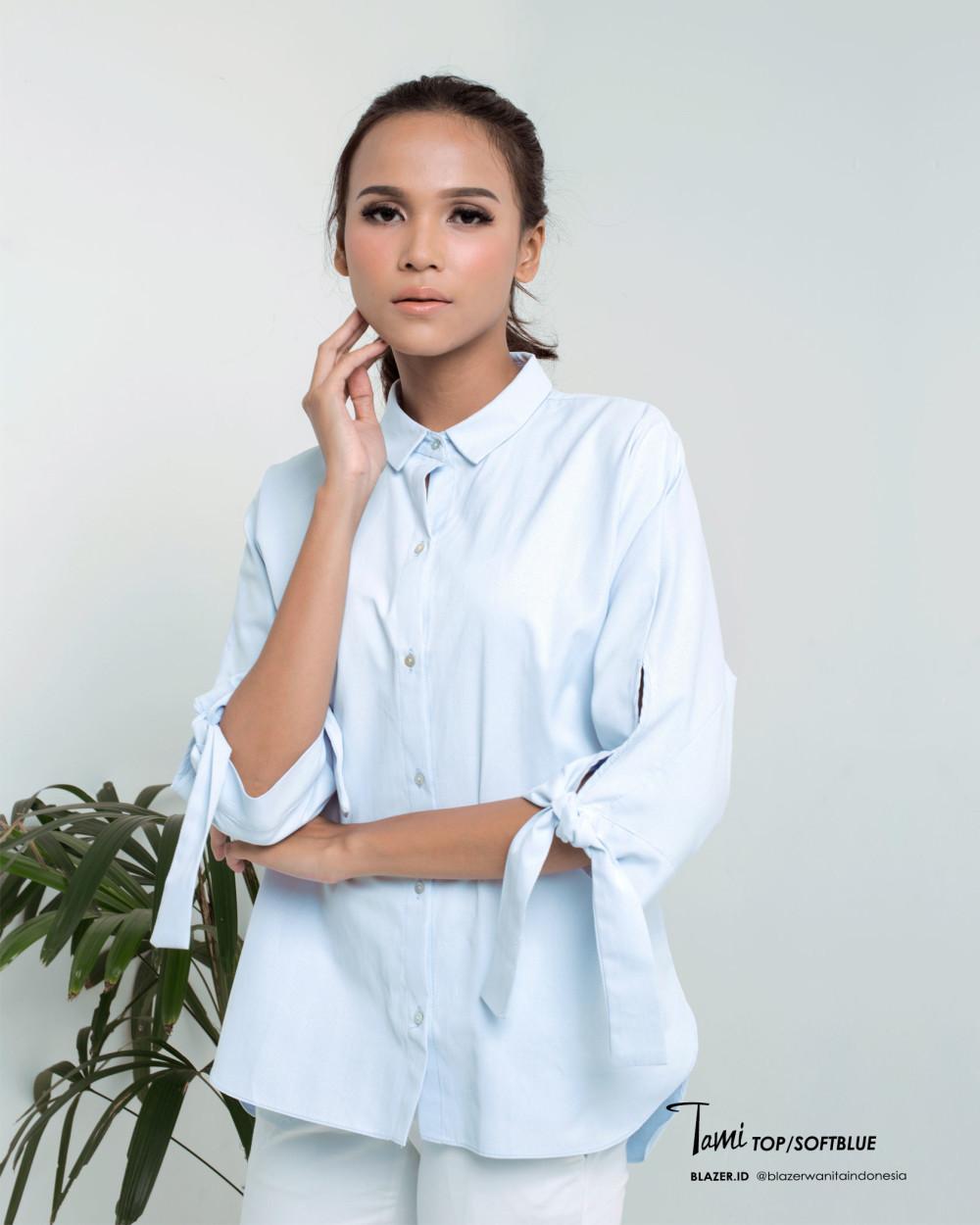 Tami Top Soft Blue Blouse Baju Kantor Wanita