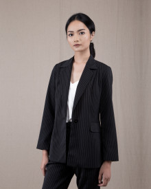 ZOE STRIPE BLACK BLAZER