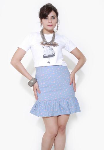 Ligth Denim Ruffled Skirt image