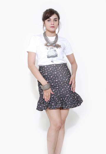 Black Denim Ruffled Skirt image