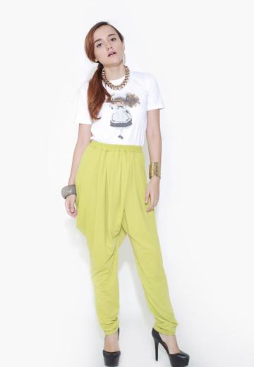 Fold Up Drapy Lime Green Pants image