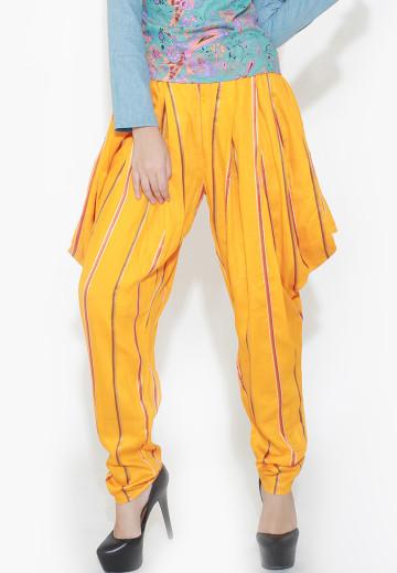 Orange Drapy Stripe Pants image