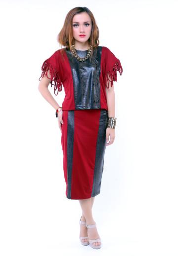Wild Maroon Midi Pencil Skirt image