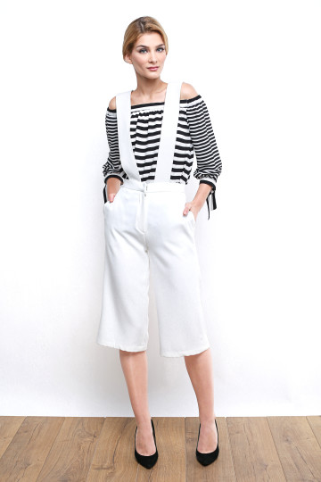 BADGLEY OVERALL CULOTTE - WHITE image