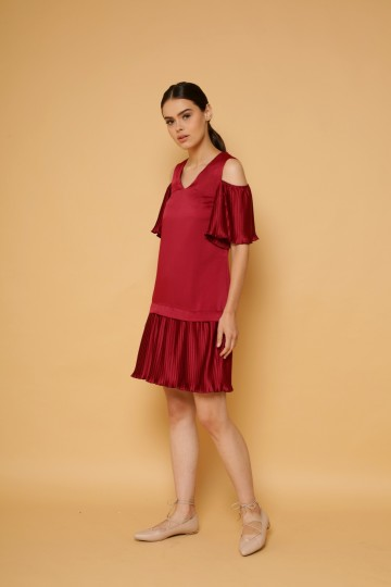 Just A Kiss Pleated Off-Shoulder Dress image