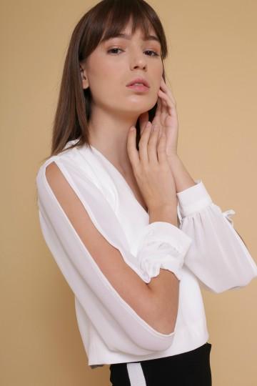 Mercy V-Neck Blouse in White image