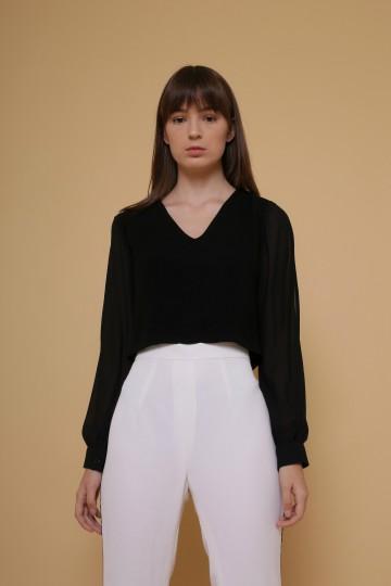 Mercy V-Neck Blouse in Black image