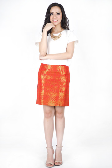 Orange Red Songket Skirt image